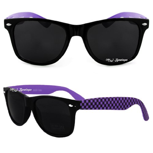 Black & Purple Checker Two Tone Wayfarer Sunglasses Dark Lens 80s Retro