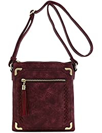 Double Compartment Whipstitched Crossbody Bag with Tassel Zipper Accent