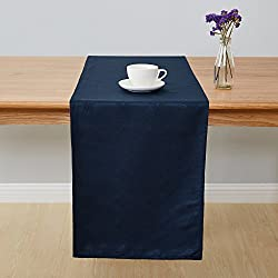 Deconovo Jacquard Damask Table Runner Wrinkle and Water Resistant Spill-Proof Decorative Dining and Wedding Runners with Round Patterns 14 x 108 inch Navy Blue