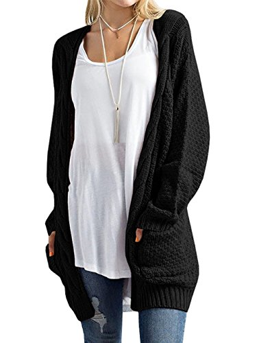Tricot Bouton Veste Femme Cardigan Poches Longue Pull Sweaters Casual Sans Noir Manche en HENCY Pull avec xaBYqw
