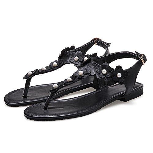 Toe Mode Sandales Clip JOJONUNU Femmes Black axnRZq6Bp