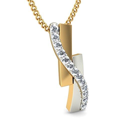 14K Or jaune 0,13CT TW Round-cut-diamond (IJ | SI) Pendentif