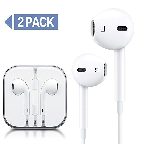 Elfmo Earphones/Earbuds with Remote and Mic 3.5mm Jack Headphones Standard Retail Packaging Wired Ear Buds for iPhone 6/6s/6s plus/5/5s, iPad, iPod,2 Pack Earphones