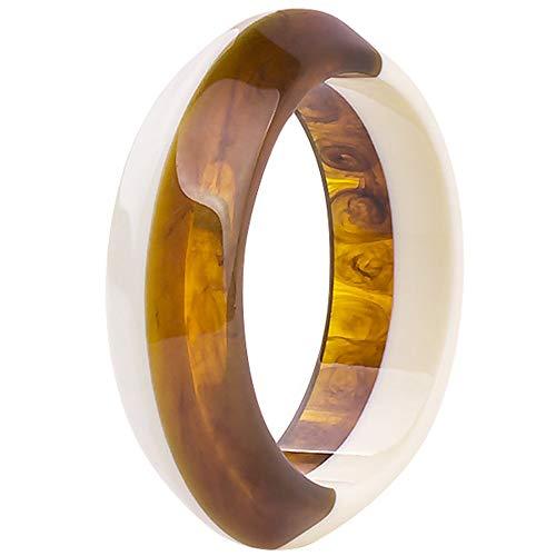 Jude Jewelers Fashion Stylish Acrylic Resin Plastic Statement Clocktail Party Bangle Bracelet (Brown-White)