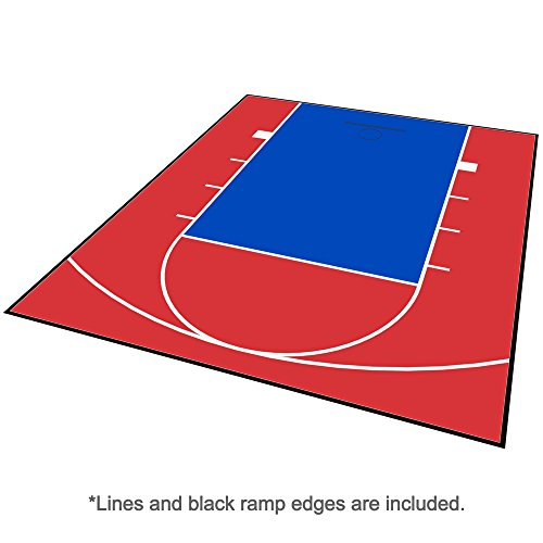 MODUTILE Outdoor Basketball Half Court Kit 20ft x 24ft -Lines and Edges Included-Made in The USA (Red/Blue)