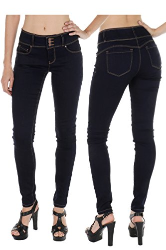 (wax jean Collection Women's Stretchy Denim Lifted High Waist Push-Up Jeans (11, Navy) )