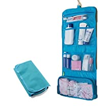 Greenery Waterproof Spacious Portable Travel Storage Bags Multiple Pockets Large Capacity Folding Toiletry Bags Organizer Outdoor/Home Makeup Cosmetic Bags with Flexible Hanging Hook (#Blue) by Greenery