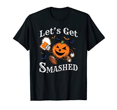 LET'S GET SMASHED Halloween Drinking Pumpkin Boos Shirt