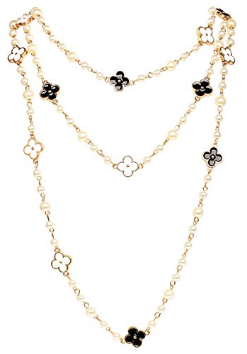 (Fashion Jewelry MISASHA Bridal and Chic Long Imitation Pearl Clover Strand Necklace (Black Clover))