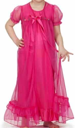 e01d23af1 Laura Dare Little Girls Short Sleeve Peignoir Nightgown Robe Set w Scrunch  2T-6X