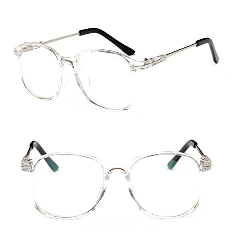 Nuni Lightweight Transparent Plastic Frame Metal Arm Square Eyeglasses (clear + black tips, - Replacement Eyeglasses Arms