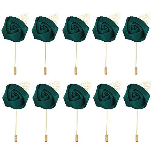 10pcs Wedding Lapel Flower Pin Rose for Man Suit Decoration (blackish green)
