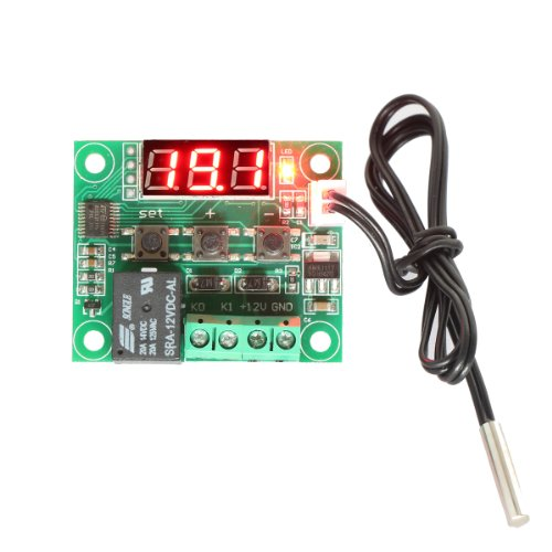 DROK Micro Digital Thermostat DC 12V -50 to 110x2103; Temperature Controller Board Electronic Temperature Temp Control Module Switch with 10A One-channel Relay and Waterproof P4 System Board