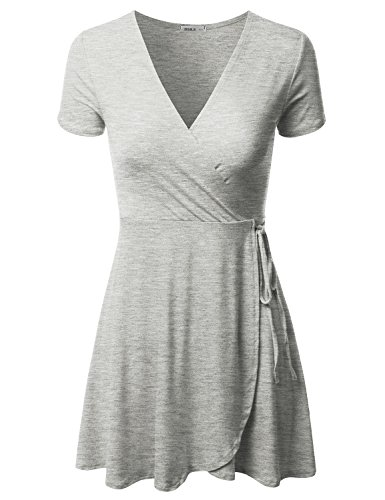 Doublju Short Sleeve Surplice Wrap A-Line Dress For Women With Plus Size (Made In USA) HGREY Medium (Surplice Wrap Dress)