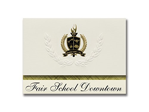 Signature Announcements Fair School Downtown (Minneapolis, MN) Graduation Announcements, Presidential style, Basic package of 25 with Gold & Black Metallic Foil - Mn Downtown