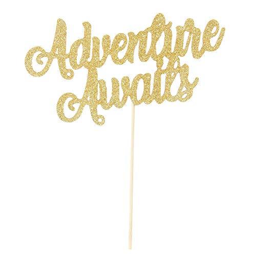 Gold Glitter Adventure Awaits Cake Topper 2019 Graduation Congrats Grad Party Decorations Supplies-High School Graduation, College Graduate Cake Topper ()