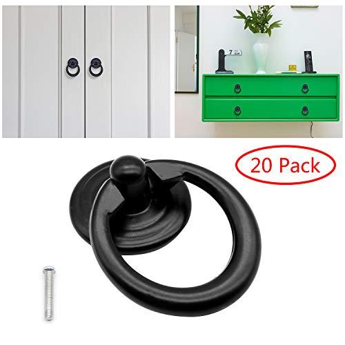 (Vintage Single Hole Round Pull Ring Furniture Door Pull Handle Zinc Alloy Cabinet Dresser Drawer Knobs Handle of 20 Pack (Black))