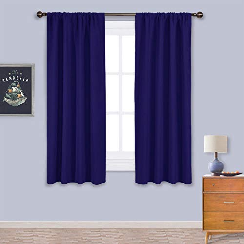 Navy Bedroom Curtains Blackout Draperies - All Season Thermal Insulated Solid Rod Pocket Top Blackout Curtains/Drapes for Kid's Room (Royal Navy Blue, 1 Pair,42 x 63 Inch)