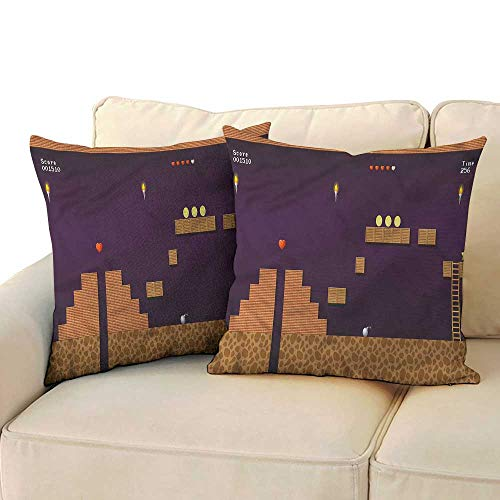 RuppertTextile Boys Room Customized Pillowcase Video Game Screen Coins Mildew Proof W17 x L17