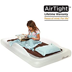 The Shrunks Toddler Travel Bed Portable Inflatable Air Mattress Bed for Travel, Camp or Home Use, Kids Size with Security Rails 60 x 37 x 9 inches -