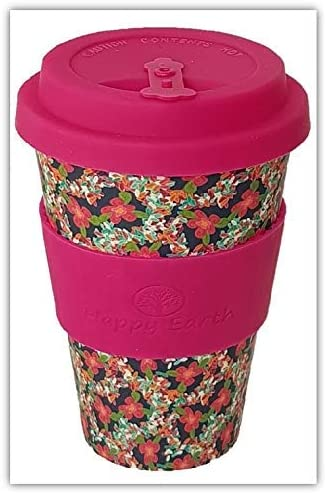 BLOSSOM by Happy Earth (Reusable Eco-Friendly Coffee Cup 450ml, Made with Organic Natural Bamboo Fibre, can be used as a travel mug or home coffee mug)