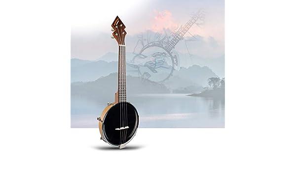JJmooer 26 pulgadas Banjo Banjolele Ukelele 4 cuerdas chapada en la vendimia con bolsa de transporte Sintonizador electr/ónico