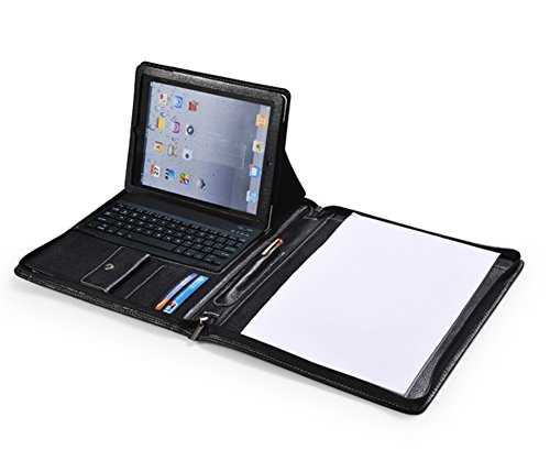 Black Zippered Leather Padfolio With Bluetooth Keyboard and iPad Air / The New 9.7 iPad holder by XIAOZHI