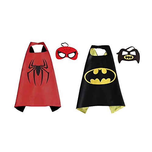 NYKKOLA Cartoon Dress Up Costumes Satin Capes With Felt Masks for Children Boy And Girl (2 pack cape) -