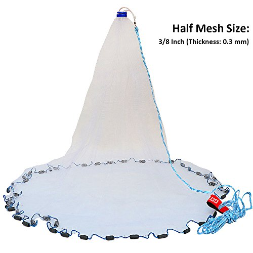 Pisfun American Saltwater Fishing Cast Net for Bait Trap Fish 4ft/6ft/8ft/10ft/12ft Radius, 3/8inch Mesh Size (Bait Saltwater Fish)