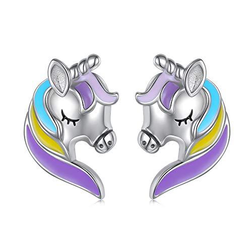 (Unicorn Earrings Sterling Silver Rainbow Unicorn Stud Earrings for Teen Girls Women)