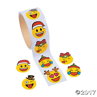 Christmas Emoji Stickers - 1 Roll