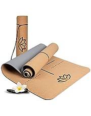 WELLAX yogamatta i kork – halkfri, hållbar och fri från skadliga ämnen – yogamatta i tjock kork 183 x 61x 0,6 cm – bärrem och väska – professionell matta för yoga, pilates, fitness