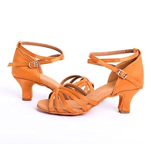 DoGeek Latin Dance Shoes Square Heels Shoes 6cm Latin Shoes Women Girls for Latin/Modern/Samba/Chacha Dance/Sasa Dance Brown tKcL7OG