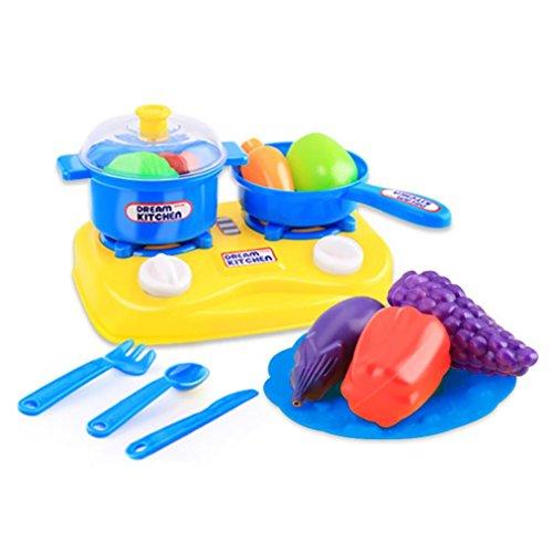 Kitchen Set Node Attributes: WensLTD 15pcs Plastic Kids Children Kitchen Utensils Food