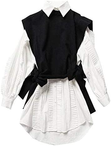 NANADEDIAN Nuevas Mujeres 2 unids 1 Juego High Street Ruffles Orejas de Madera Camisa Blanca Vestido Cordones para Arriba Suéteres de Punto Negros S: Amazon.es: Deportes y aire libre