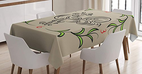 CANCA Kitchen Decor Premium Tablecloth Rooster and Floral Art Decorative Clock Time Swirls Leaves Farm Animal Theme Decoration Dining Room Kitchen Rectangular Table Cover Grey Green