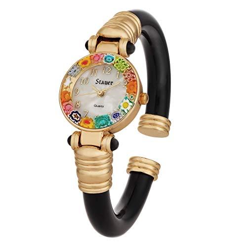 Stauer Women's Italian Fiori Murano Bangle Watch (Onyx)