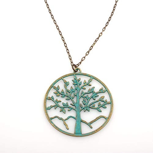 Weathered Patina Chain - Tree Of Life Pendant Necklace - Green Patina Brass, Flat Link Brass Chain, 2.5 & 24-in