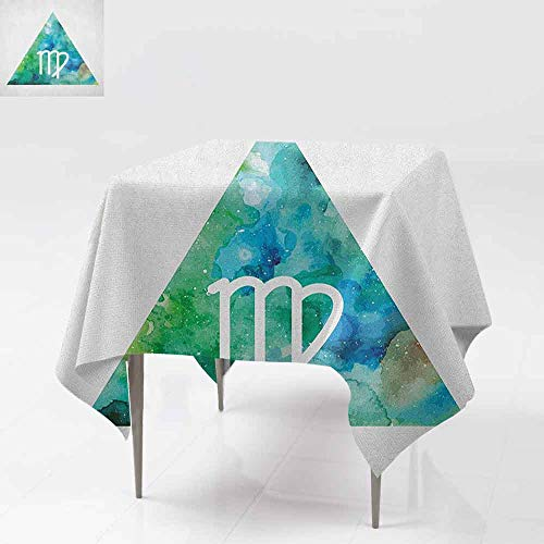SONGDAYONE Modern Square Tablecloth Virgo Virgo Watercolor Abstract Triangle Background Ancient Culture Inspiration Indoor and Outdoor Tablecloth Sea Green Blue White W54 xL54