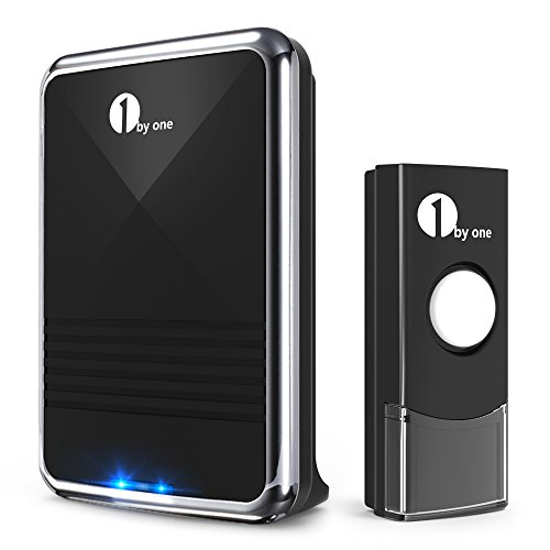 Wireless Signal Amp - 1byone Easy Chime Wireless Doorbell Kit, 1 Receiver & 1 Push Button with Sound and LED Flash, 36 Melodies to Choose, Battery Operated