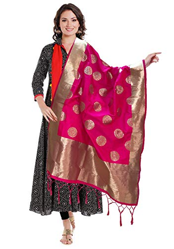 Indian Bridal Wedding Pakistani Banarasi Women Woven Cotton Silk Veil Dupatta Stole Chunni Shawl Scarf (Magenta)