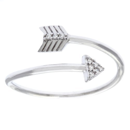 Sterling Silver CZ Overlapping Arrow Ring (Size 7)