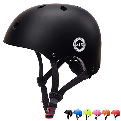 XJD Toddler Helmet Kids Bike Helmet CPSC Certified Adjustable Bike Helmet Ages 3-8 Girls Boys Safety Skating Scooter Cycling Rollerblading (Black) ()