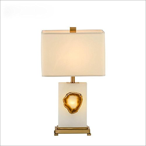 E27 Natural Marble Agate Table Lamp Modern Minimalist Style For Hotel Bedroom Living Room Bedside Decoration Cloth Marble Metal Desk Lamps Height 26.8inch - Natural Agate Table Lamp