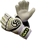 Blok-IT Goalkeeper Gloves Goalie Gloves - Make The Toughest Saves-Secure and Comfortable Fit - Extra Padding, Reduced Chance of Injury (White & Black, Size 4=Youth-XS)