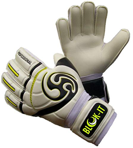 Blok-IT Goalie Gloves. Fingersave Goalkeeper Gloves for Soccer. Kids, Youth & Adult Sizes. Make The Toughest Saves - Extra Protection & Padding (Fluorescent Yellow, Size 7=Youth-L)