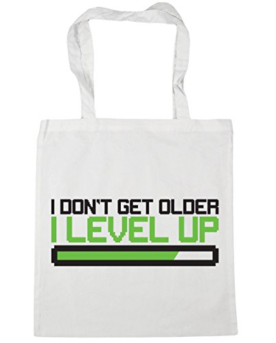 HippoWarehouse I Don 't Get Older I nivel Up bolsa de la compra bolsa de playa 42 cm x38 cm, 10 litros, Cornflower Blue (azul) - 21425-TOTE-cornflower blue blanco