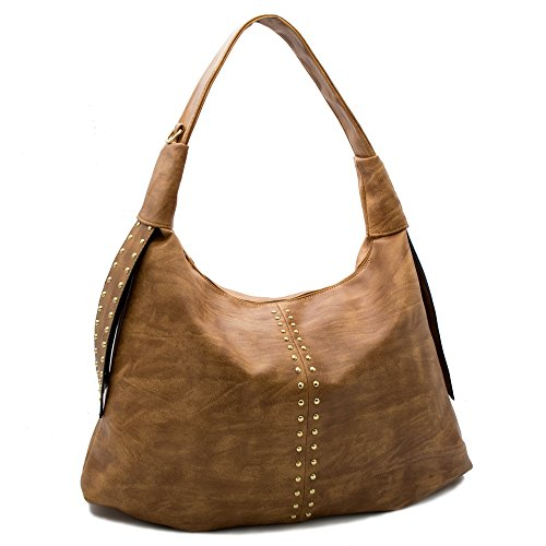 Tote Studded Nylon - Handbags for women hobo shoulder tote top handle bag motorcycle Rivet Studded large capacity PU Leather (Brown)