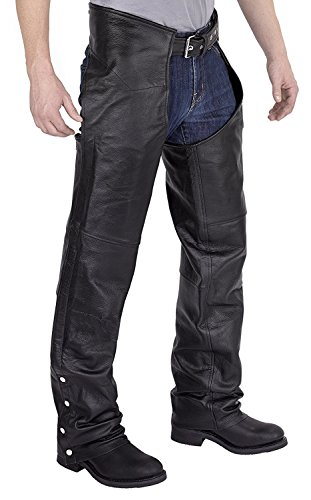 Viking Cycle Leather Chaps - Plain Motorcycle Leather Chaps (L)