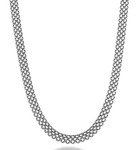"""MiaBella 925 Sterling Silver Italian 6mm Solid Bismark Mesh Link Chain Necklace for Women 18"""""""